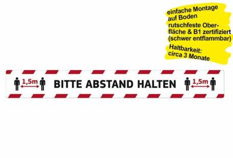 Bodenaufkleber BITTE ABSTAND HALTEN - 1000 x 125 mm