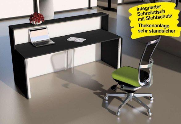 Empfangstheke JETSTREAM - vollwertiger Arbeitsplatz mit Sichtschutz