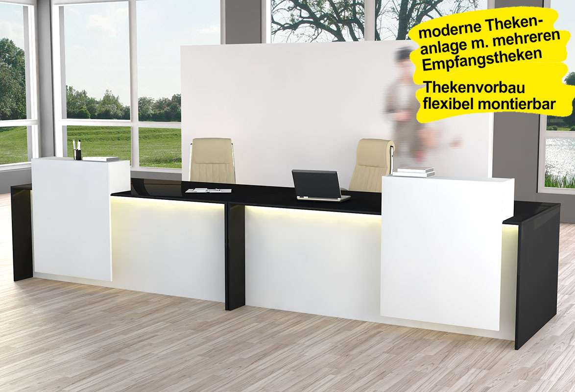 empfangstheke passion moderne theke mit led leiste. Black Bedroom Furniture Sets. Home Design Ideas