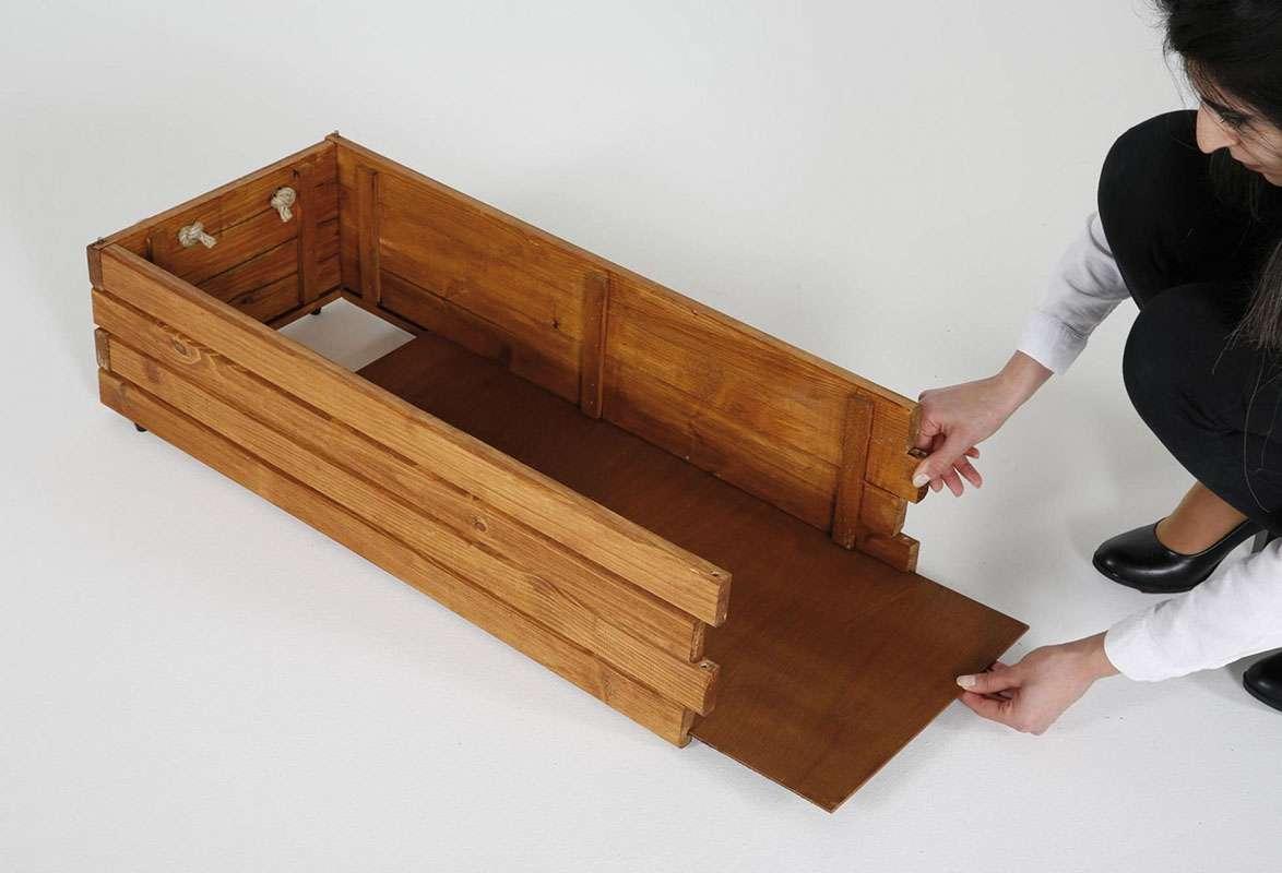 Holzkiste faltbar PINIE - Aufbau