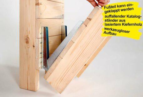 Katalogständer Holz A4 PINEWOOD - Klappfuß