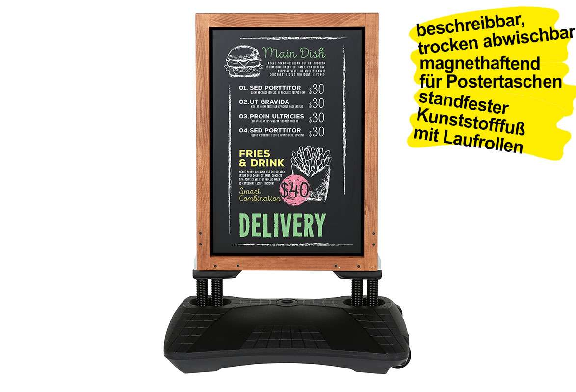 Kundenstopper Holz MEAT – Seitenansicht