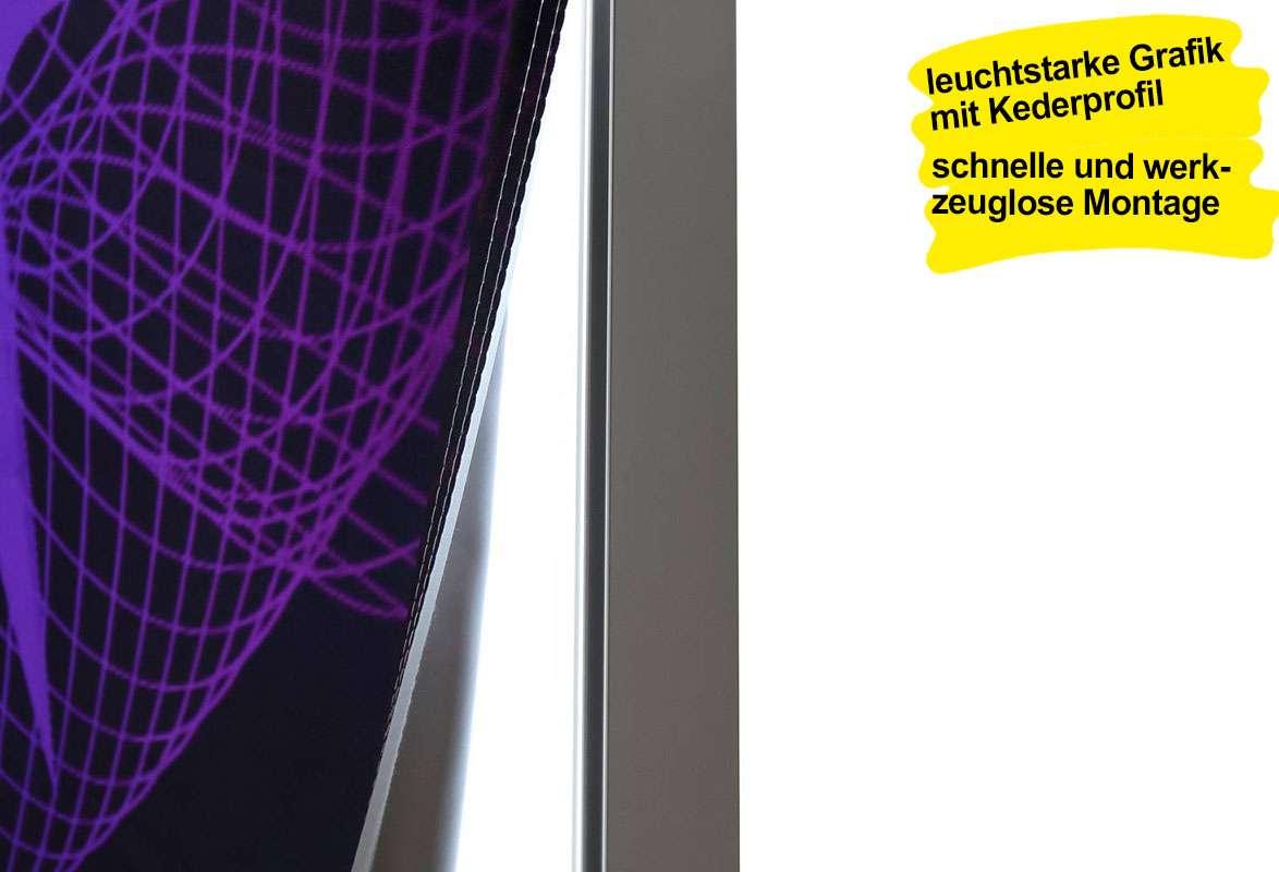 Messetheke hinterleuchtet GREAT LED - Kederprofil