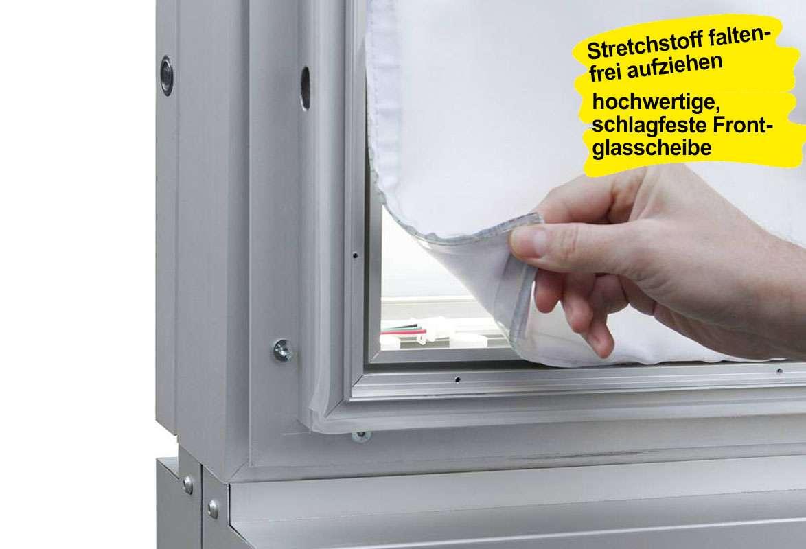 Plakatschaukasten LED BLITZ - Strechstoff