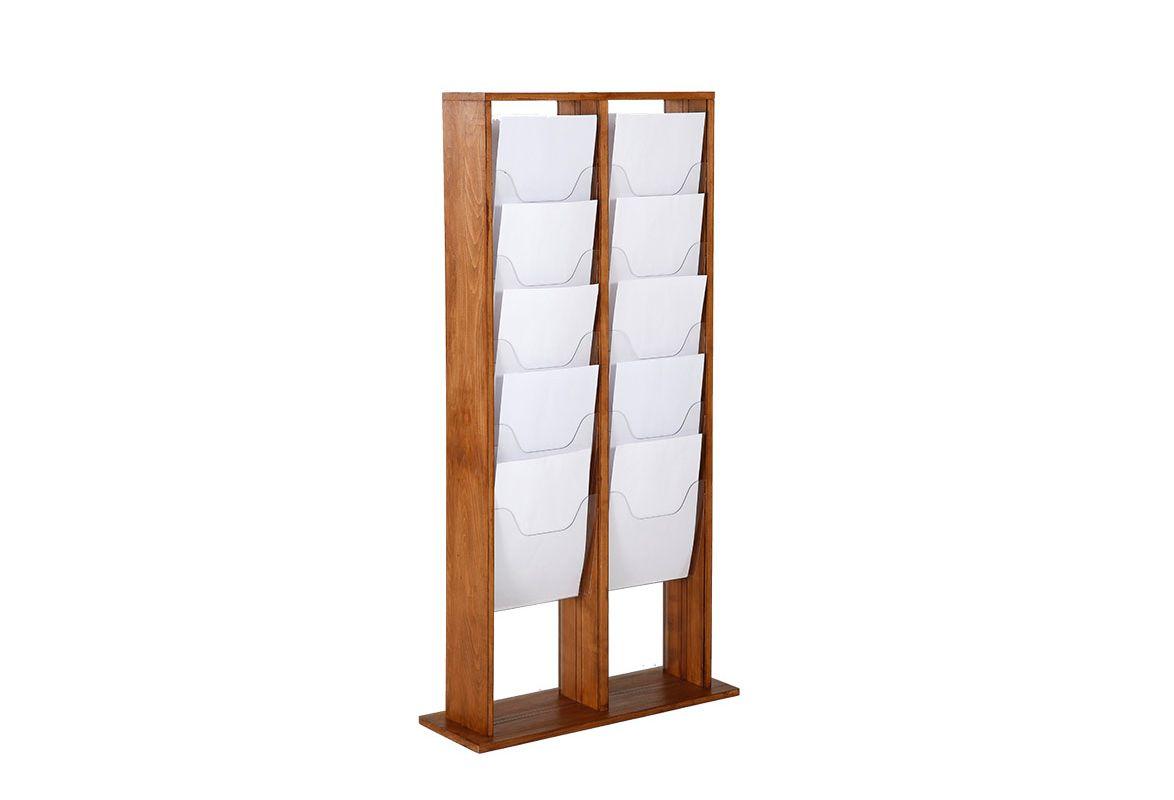Prospektständer Holz A4 ZENA – 20 Fächer