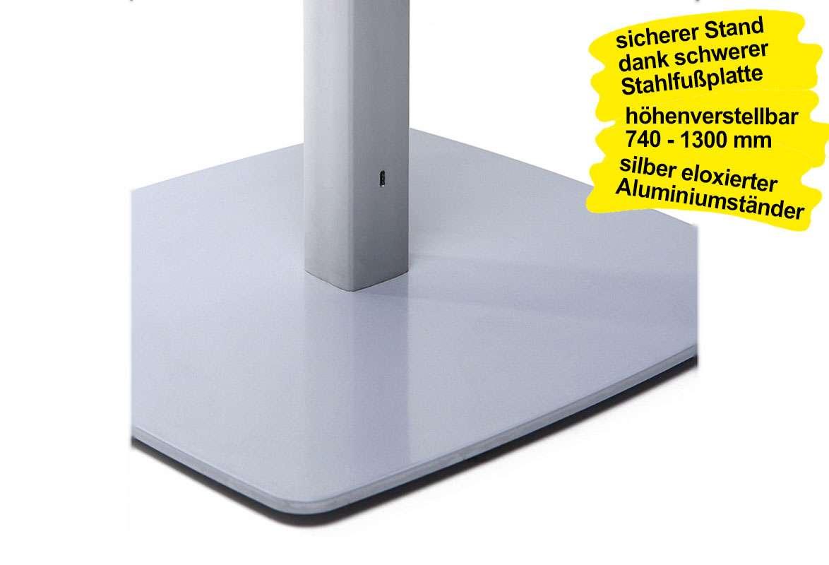 VESA Standfuß höhenverstellbar BULLRING - Bodenplatte