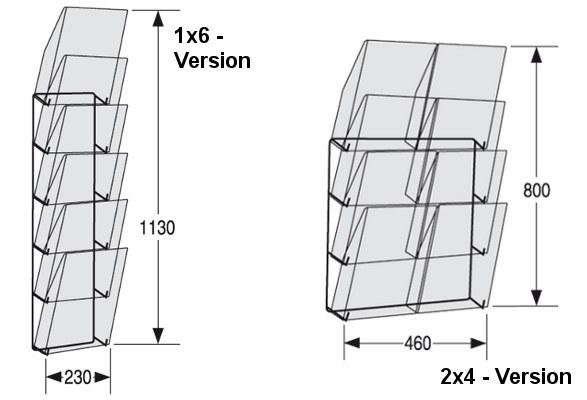 Wandprospekthalter A4 LINE - Maße