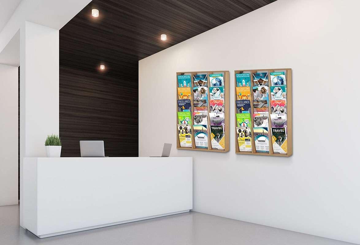 Wandprospekthalter Holz A4 BRANCH – Beispiel